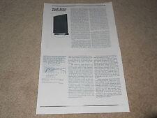 Quad ESL-63 Electrostatic Speaker Review, 1984, 2 pg, Specs, Full Test