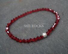 RED CRYSTAL STRETCH BRACELET STERLING SILVER RUBY BEADED HANDMADE DESIGNER GIFT