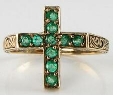 UNUSUAL 9CT 9K GOLD COLOMBIAN EMERALD RELIGIOUS CROSS VINTAGE INS RING FREE SIZE