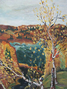 Vintage Folk Art Landscape Oil Painting on Panel - Initialed - Mid 20th Century