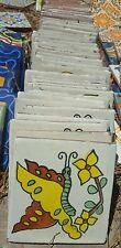 "Mexican 4"" tile tile pottery hand painted Pretty Caterpillar Butterfly • New •"