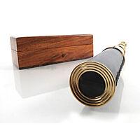 "Pirate Spyglass Brass & Leather 15"" w/ Rosewood Case Nautical Telescope New"