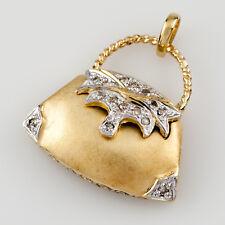 14k AMARILLO MATE ORO Monedero COLGANTE CON / Diamante Detalles Patron = 0,15 ct