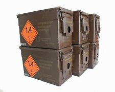 Brown 50 Cal Army Ammo Storage Ammunition Surplus Tin Tool Box Metal Camping