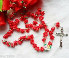 Mother's Day - Catholic ROSARY-RED Rose Flower Ceramic bead with a Crucifix -NEW