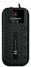 NEW CyberPower 8 Way outlet Surge Protector Power Board with 2xUSB IPhone Charge