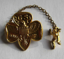 "Girl Scout 1938-67 BROWNIE LEADER GUARD PIN 1/2"" Tiny Elf + MEMBERSHIP PIN, GIFT"
