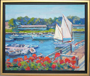 OGUNQUIT HARBOR~MAINE~LISTED ARTIST~ORIGINAL OIL PAINTING MARC FORESTIER