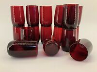 Vintage Anchor Hocking 5 Oz. TRUE Ruby Red Roly Poly Juice Glasses Set of 16