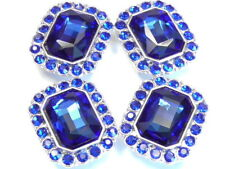 4 - 2 HOLE SLIDER BEADS 15mm FACETED SAPPHIRE GLASS CABS & 3mm SAPPHIRE FRAME
