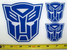 Transformers - Autobot Set of 3 HQ Single Color Dark Blue Vinyl Sticker Decal em