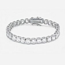 Fine Genuine 925 Sterling Silver Tennis Bracelet with 5mm Lab Created Diamonds