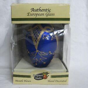 Designers Studio Hand Crafted Glass Ornament Elongated Ball Blue Gold Design