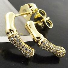 EARRINGS STUD GENUINE REAL 18K YELLOW GOLD G/F DIAMOND SIMULATED BAMBOO DESIGN