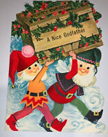 Vintage Gibson 1960's Christmas Godfather Greeting Card Elves Used