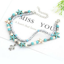 Double Layered Ankle For Women Alloy Turtle Conch Starfish Beads Anklets Ladies