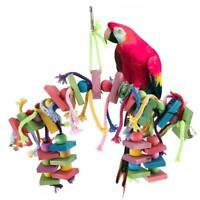 Large Parrot Bird Toys Perch Stand Budgie Cockatiel Chew Hanging Swing Wooden