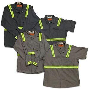 Red Kap Reflective Shirt Hi Vis Short Long Sleeve Work Uniform Charcoal / Gray