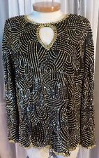 Vintage Lady 2X Black Gold Silk Blouse Top Woman Stunning Beaded Beads 18 20 XXL