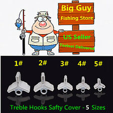 100 pcs Fishing Treble Hooks Safty Protector Cover -5 different size
