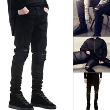 Men's Fashion Straight Biker Jeans Pants Skinny Mid-rise Denim Ripped Trousers