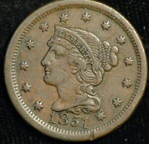 USA Cent 1851 Braided Hair KM#67 (T119)