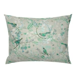 Bird Trees Floral Bee Mint Tan Garden Spring Pillow Sham by Roostery