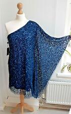 NEW ADRIANNA PAPELL Size 10 One Shoulder Blue Sequin Short Kaftan Dress RRP $199