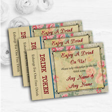 Floral Vintage Paris Shabby Chic Postcard Custom Wedding Bar Free Drink Tokens