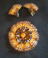 Hobe Pin and Earring Set Vintage Multi-Colored Rhinestone Accents