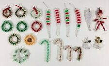 Vtg Handmade Beaded Icicle Wreath Man Candy Cane Angel Xmas Ornaments Lot of 20