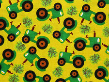 YELLOW & GREEN FARM TRACTOR BARNYARD 100% COTTON FABRIC EXCLUSIVELY QUILTERS BTY