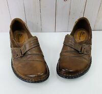 Earth Origins Meadow Brown Leather Slip On Clogs Mules Womens Size 9M