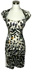 N1239 CACHE Designer Dress Size 2 XS Black White Silk Animal Print Sheath Sleeve