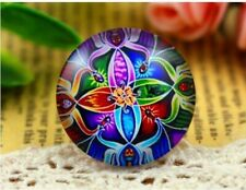 5 x 12mm patterned glass cabochon (PC-3) multi coloured