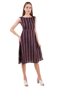 RRP€220 CARACTERE A-Line Dress Size IT 48 / XL Linen Blend Striped Made in Italy