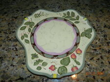 "PARTY LITE 13"" GARDEN LITES CANDLE GARDEN TRAY/ PLATTER Strawberries - VGC"