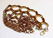 Vintage Brass Rolo Belcher Double Chain Link Rhinestone Hip Hugger 70's Belt