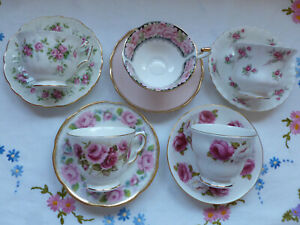 VINTAGE CHINA 5 CUPS/SAUCERS ~ PERFECTLY PRETTY PINK  ~ GORGEOUS TEA SET