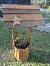 "Wood Wishing Well Outdoor Yard Garden Decor Planter 54""H x 28""W Handmade in Usa"