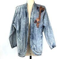 Vintage Sundance Denim Jacket Womens Medium Open Front Tomahawk Embellished