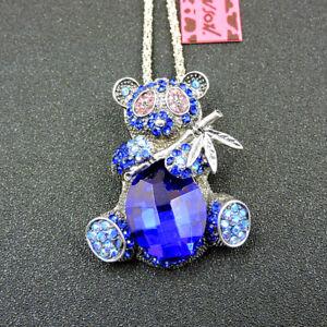 Betsey Johnson Blue Crystal Rhinestone Panda Pendant Long Chain Necklace