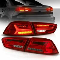 VLAND Audi Look LED Tail Lights For Mitsubishi Lancer 2008-2017 EVO X Red Clear