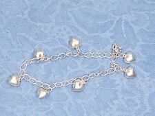 "Sterling Silver Bracelet Dangle Heart, Stamped 925, 7.5"", 6.9 grams"
