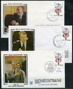 ISRAEL 1979 PEACE NEGOTIATIONS SET OF 9 SPECIAL CANCELLATION SILK CACHET COVERS