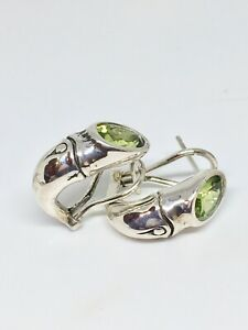 Auth John Hardy Sterling Silver Bamboo Earrings $495, Pouch