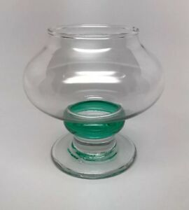 Thick Stem Glass VOTIVE CANDLE HOLDER - Clear with Green - Modern Globe Style