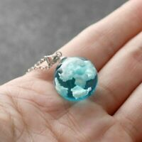Blue Sky Pendant Necklace Resin White Clouds Glass Fashion Gift Ball Terrarium
