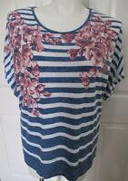 Cathy Daniels Top Blouse Blue & White Striped Floral Print  Women's 3X