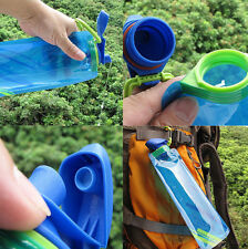 700ml Foldable Reusable NEW Flexible Water Bottles Hiking Collapsible Blue